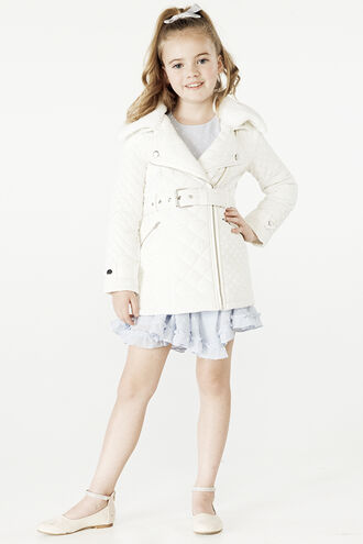 GRACE QUILTED COAT in colour CLOUD DANCER