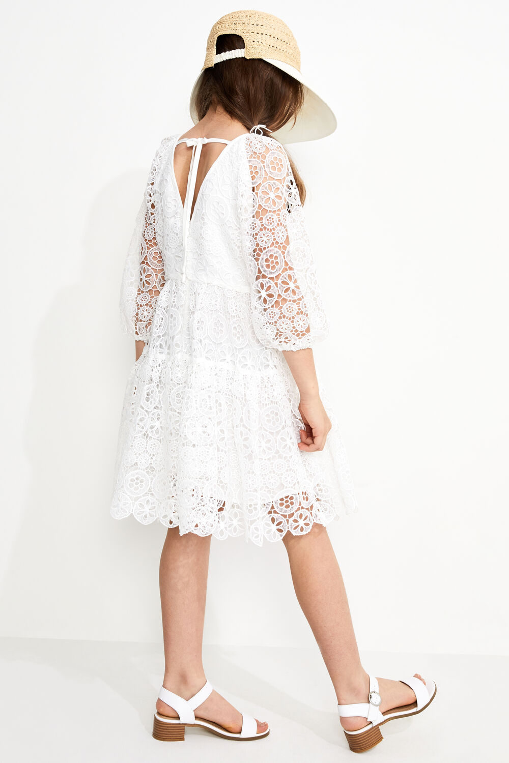 JUNIOR GIRL LACE TIERED DRESS in colour CLOUD DANCER