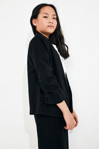 TUCK SLEEVE BLAZER in colour JET BLACK