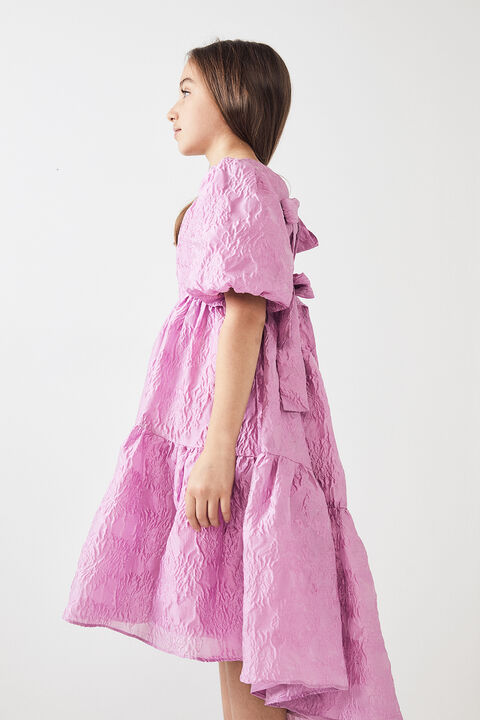 TWEEN GIRL PUFF SLEEVE TIERED DRESS in colour LILAC SNOW