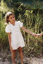 GIRLS MINI EMBROIDERED DRESS in colour CLOUD DANCER