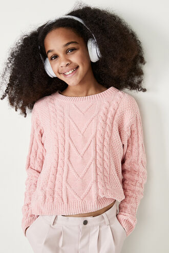 STELLA CABLE KNIT SWEATER in colour PALE DOGWOOD