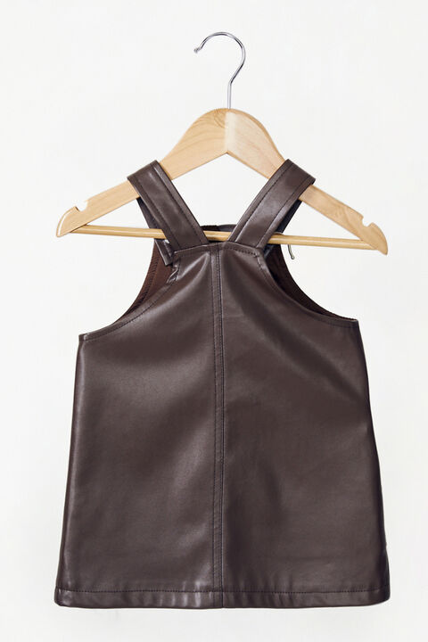 BABY GIRL VEGAN LEATHER BELLE PINAFORE in colour CHOCOLATE BROWN