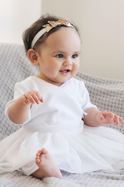 BABY GIRL WRAP BALLET DRESS in colour CLOUD DANCER