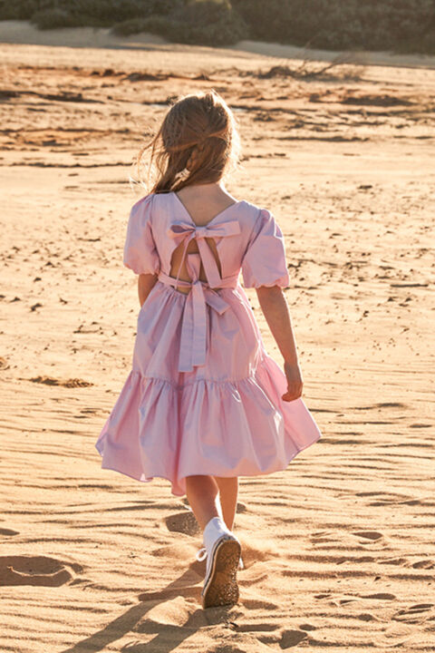 JUNIOR GIRL TIE BACK TIERED DRESS