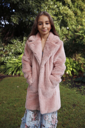 FUR MIDI COAT in colour SHELL
