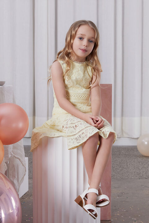 GIRLS ELISE LACE DRESS in colour BUTTERCUP