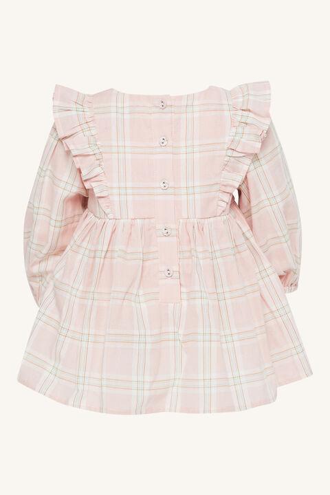 BABY GIRL LENI CHECK MINI DRESS in colour PEARL