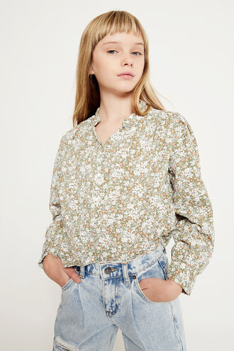 SERENITY FLORAL SHIRT in colour BURNT OLIVE
