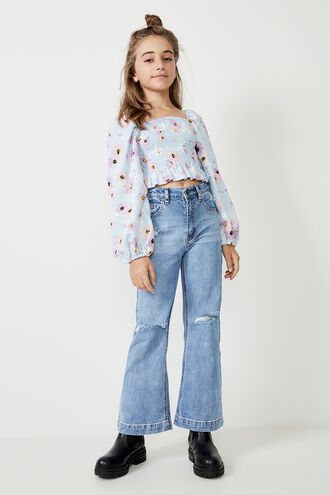 ELLA BRODERIE TOP in colour CLEMATIS BLUE