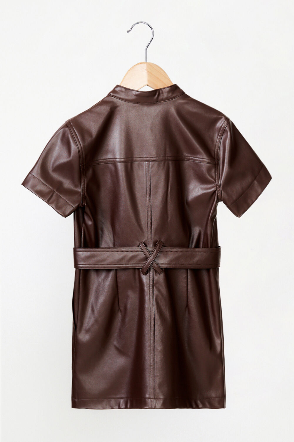 GIRLS VEGAN LEATHER BELLE MINI DRESS in colour CHOCOLATE BROWN
