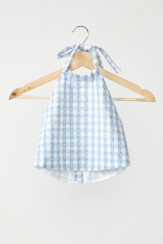 GINGHAM HALTER  in colour CERULEAN