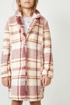 GIRLS CHECK FUR COAT  in colour PEARL