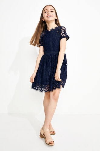 LACE PANEL DRESS in colour BLACK IRIS