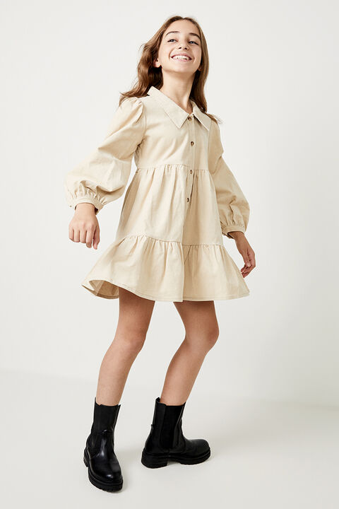 GIRLS LARISSA TIERED CORD DRESS in colour MOONLIGHT