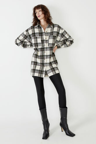 WOMENS CHECKED FLANNEL SHIRT in colour MOONLIGHT