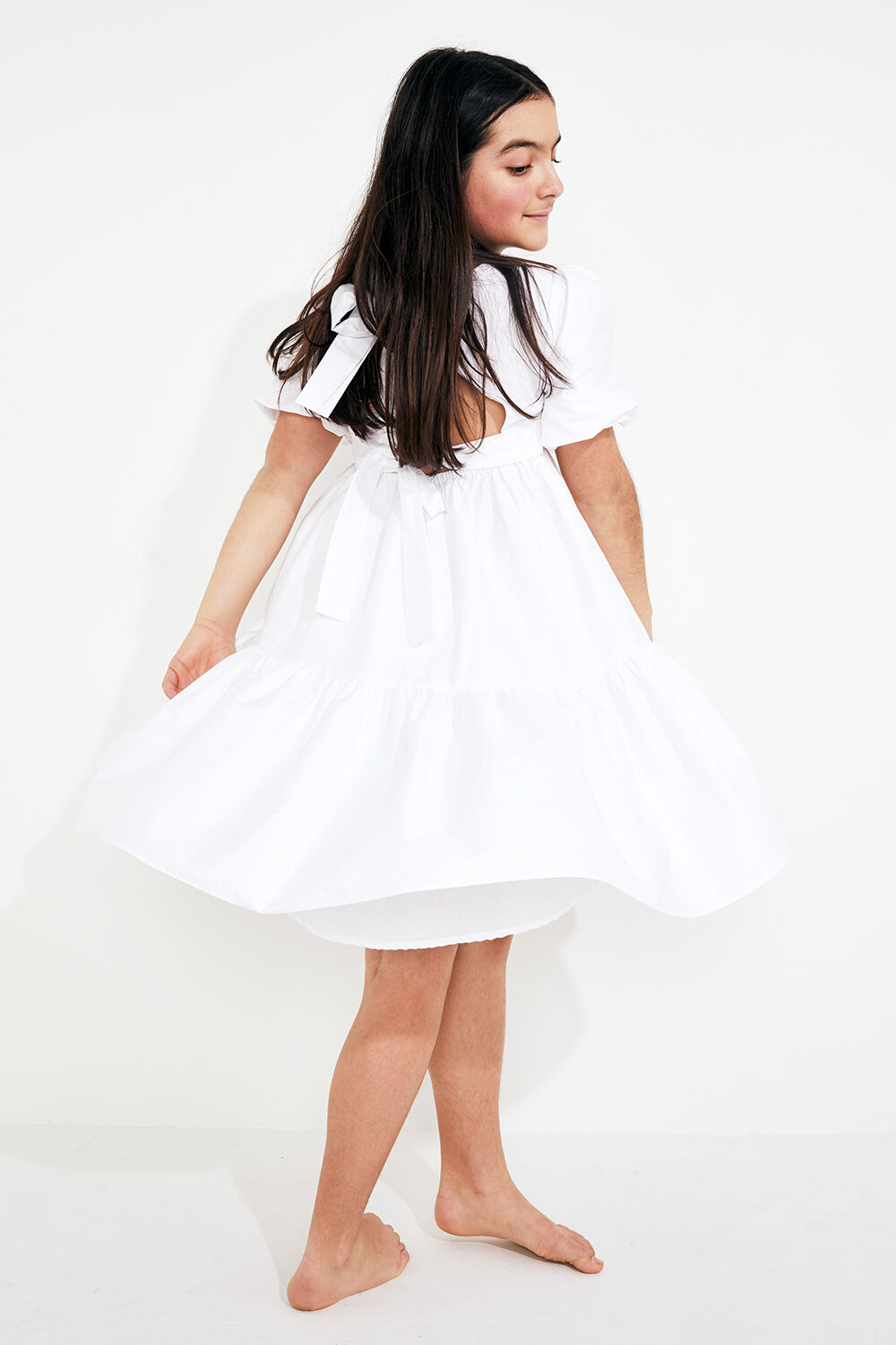 TWEEN GIRL TIE BACK TIERED DRESS in colour BRIGHT WHITE
