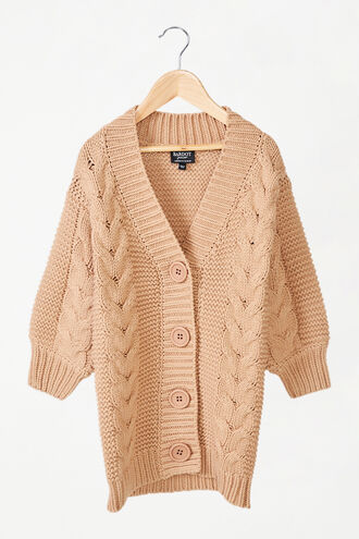 CHUNKY LONG CARDI in colour BEIGE