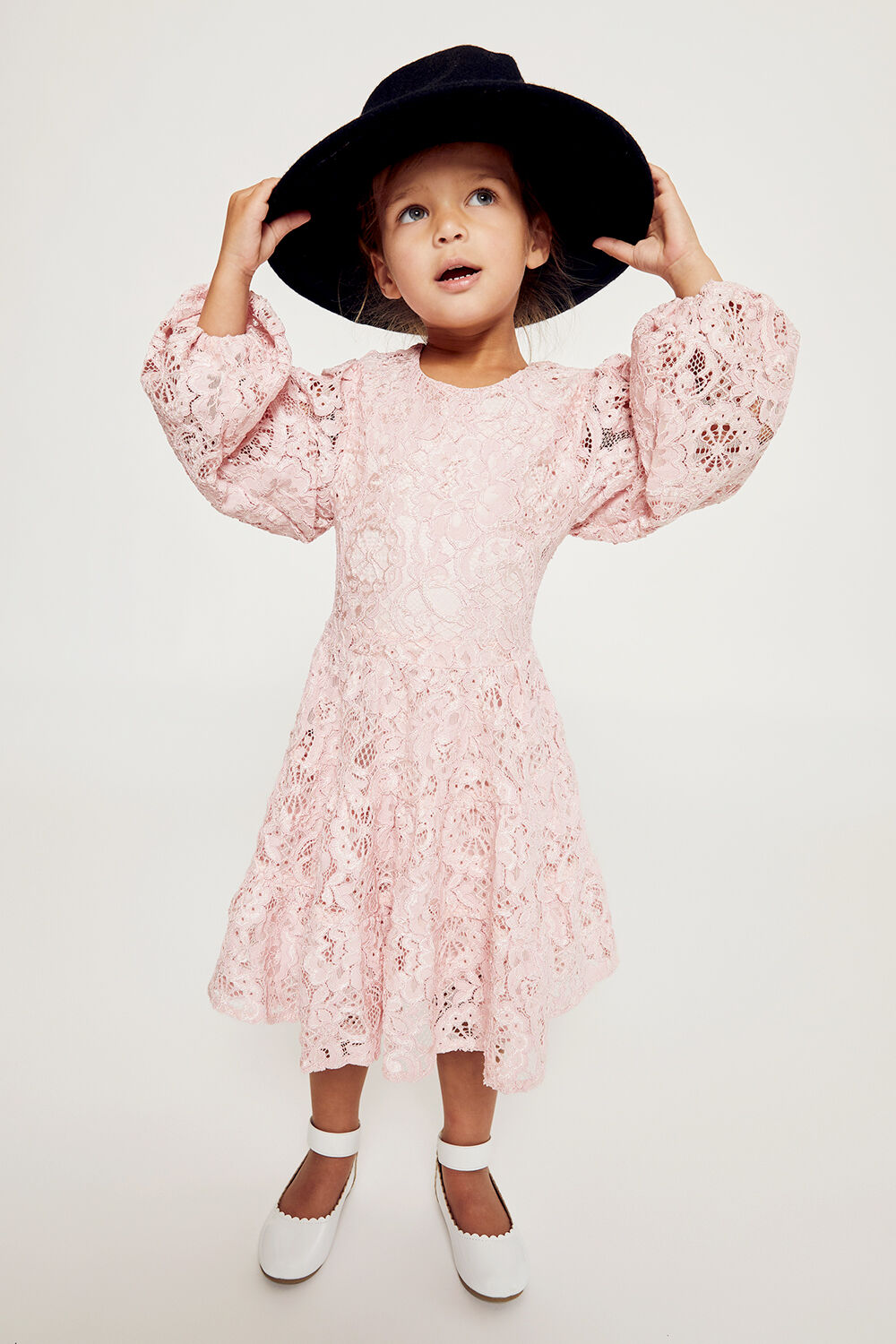 GIRLS ELLA LACE DRESS in colour SOFT PINK