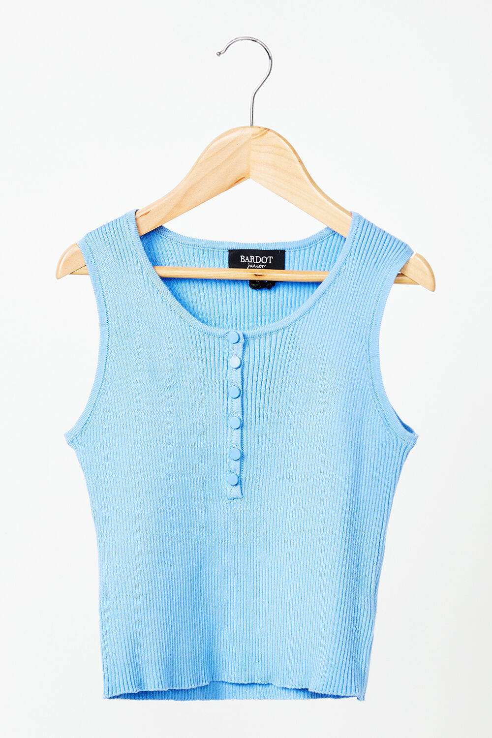 JUNIOR GIRL BUTTON RIB KNIT  in colour CERULEAN