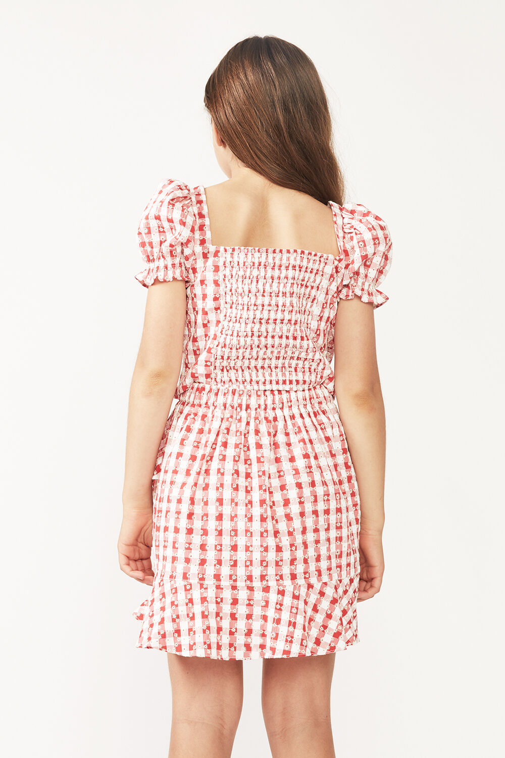 JUNIOR GIRL GINGHAM SHIRRED TOP  in colour TANGO RED