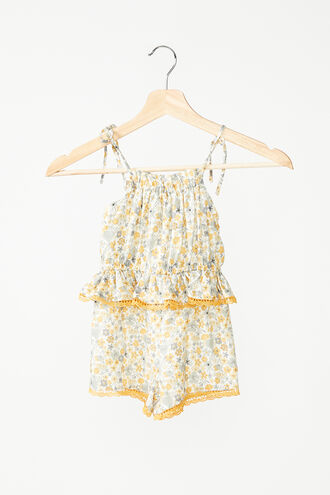 FLORAL TRIM ROMPER in colour PASTEL YELLOW