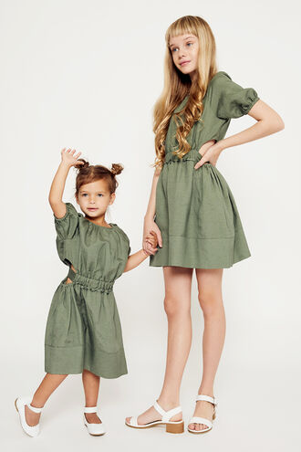 LOLA TIE BACK DRESS in colour IVY GREEN
