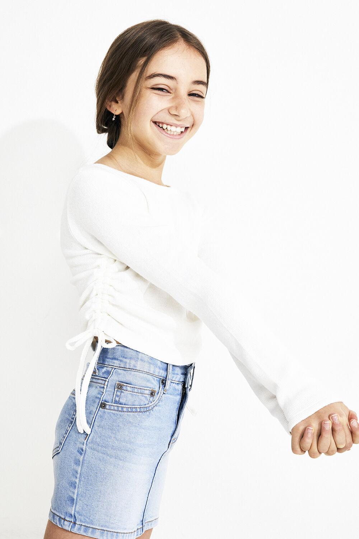 JUNIOR GIRL LIZA DENIM MINI SKIRT in colour TRUE NAVY