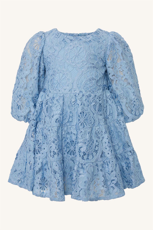 BABY GIRL ELLA  LACE DRESS in colour DUSTY BLUE