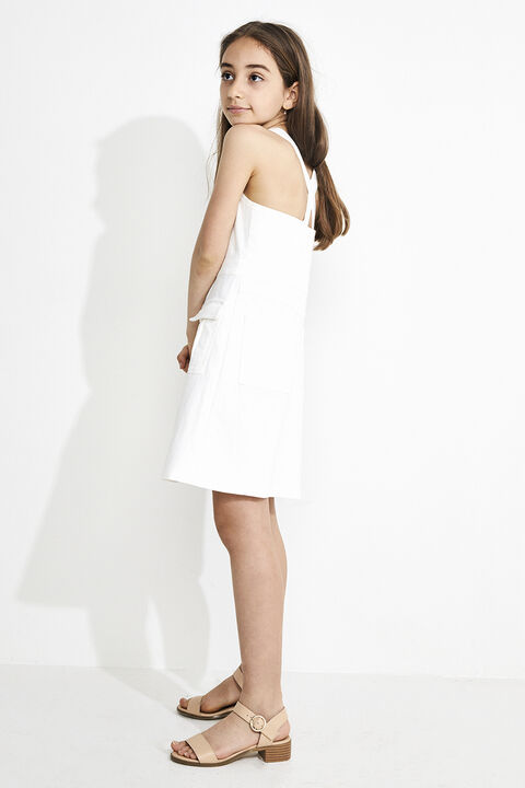 JUNIOR GIRL TINA DENIM ZIP DRESS in colour CLOUD DANCER