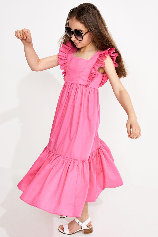JUNIOR GIRL TIERED MAXI FRILL DRESS in colour FUCHSIA PURPLE