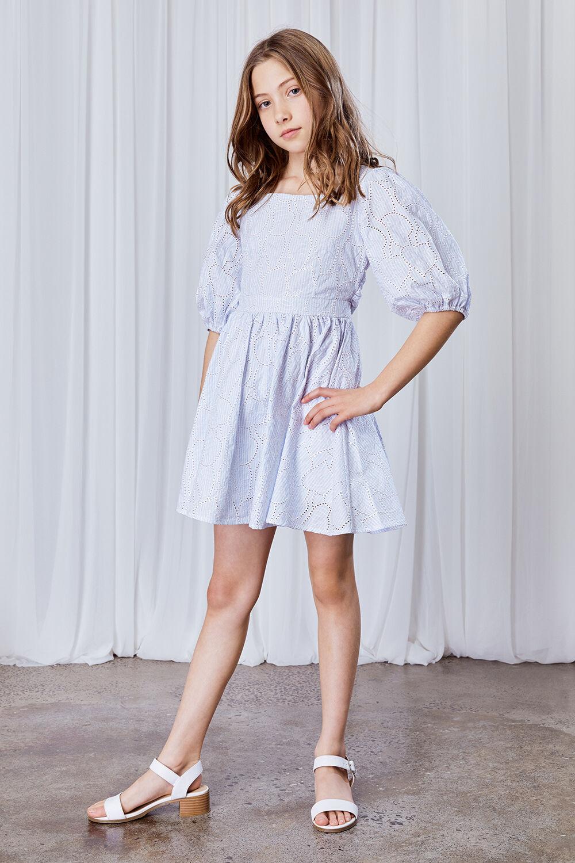 GIRLS MINI STRIPE DRESS in colour GRAY DAWN