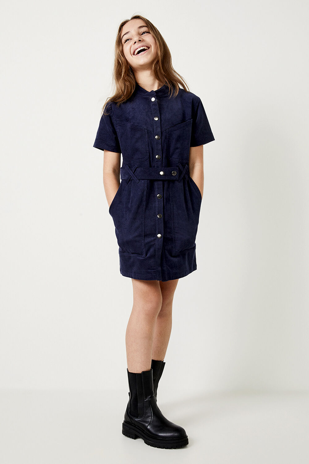 GIRLS STACEY CORD DRESS  in colour BLACK IRIS