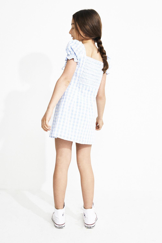 HANNAH MINI GINGHAM DRESS in colour CERULEAN