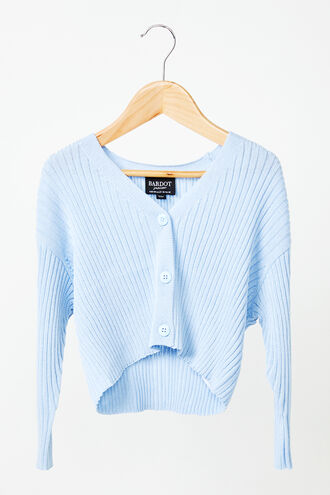 ELIZA CROP CARDIGAN in colour CERULEAN