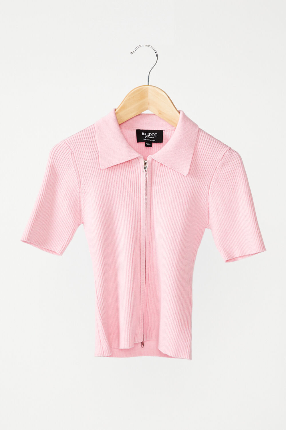 JUNIOR GIRL KNIT COLLAR TEE in colour PINK LADY
