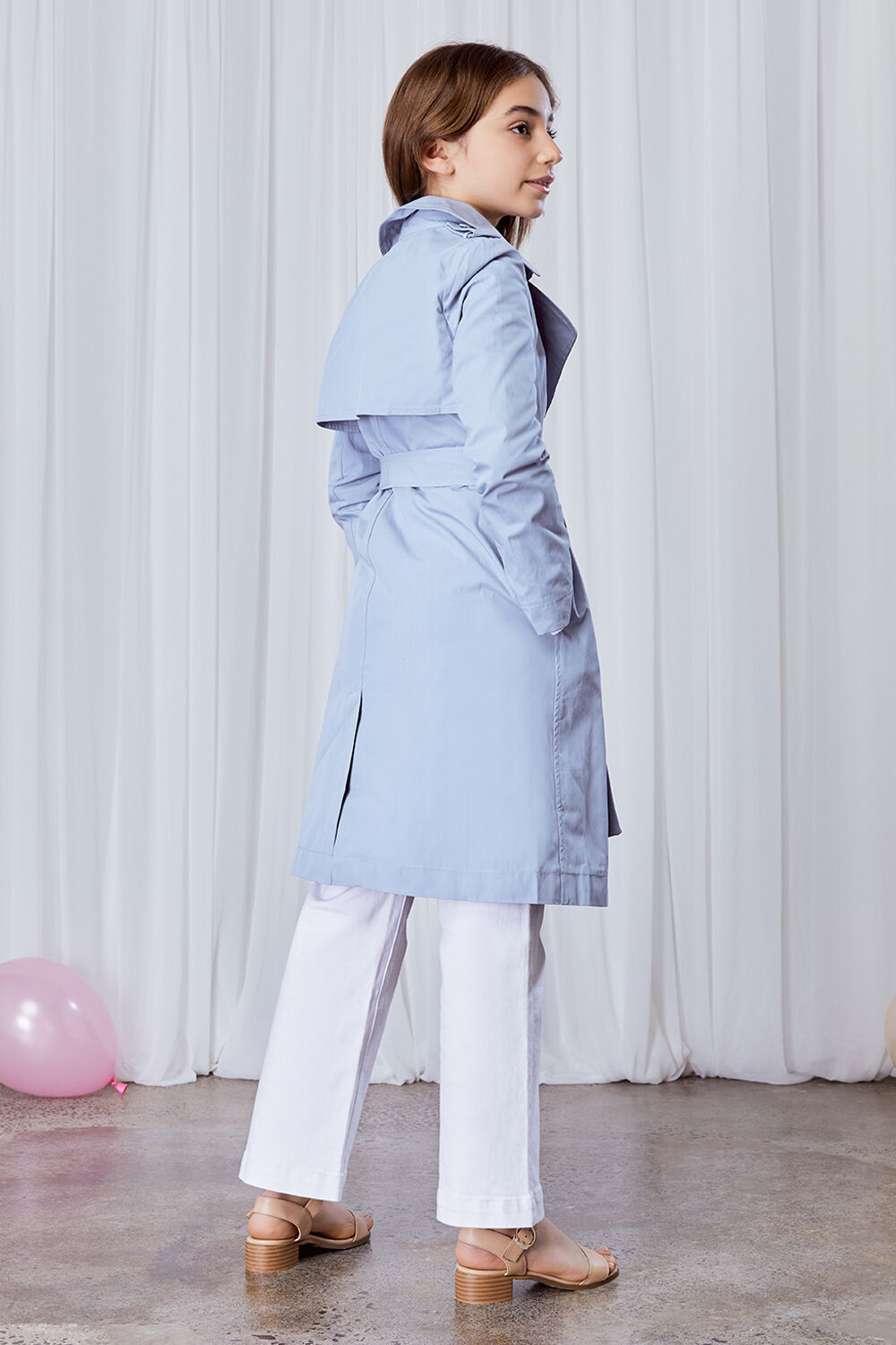 GIRLS ELSA CLASSIC TRENCH in colour CROWN BLUE