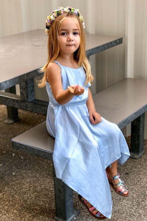GIRLS ADDY HANKY DRESS in colour CROWN BLUE