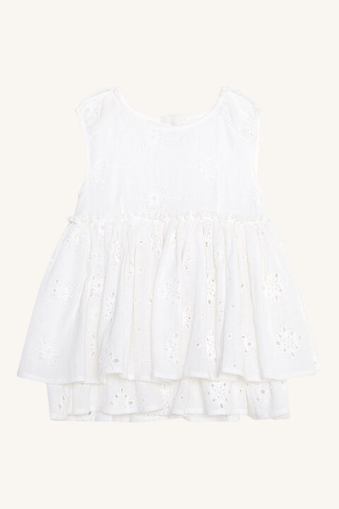 BABY GIRL BRODERIE DRESS in colour CLOUD DANCER
