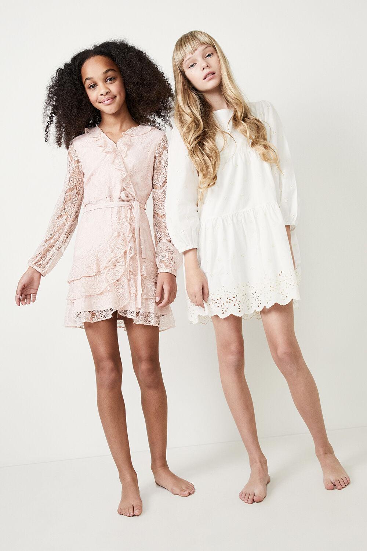 GIRLS LACE TRIPLE FRILL DRESS in colour POTPOURRI