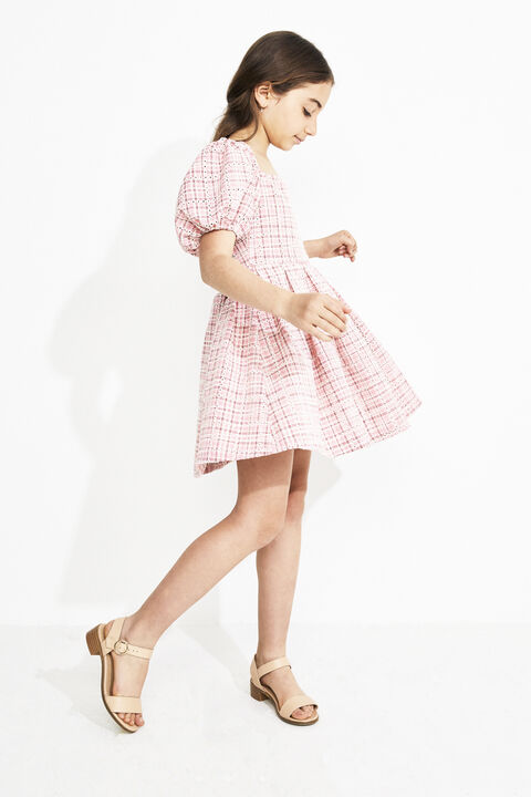 GIRLS LESLIE MINI CHECK DRESS  in colour SKIPPER BLUE