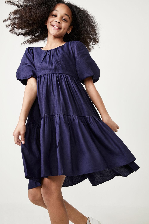 GIRLS TESSA TIERED DRESS in colour MARITIME BLUE