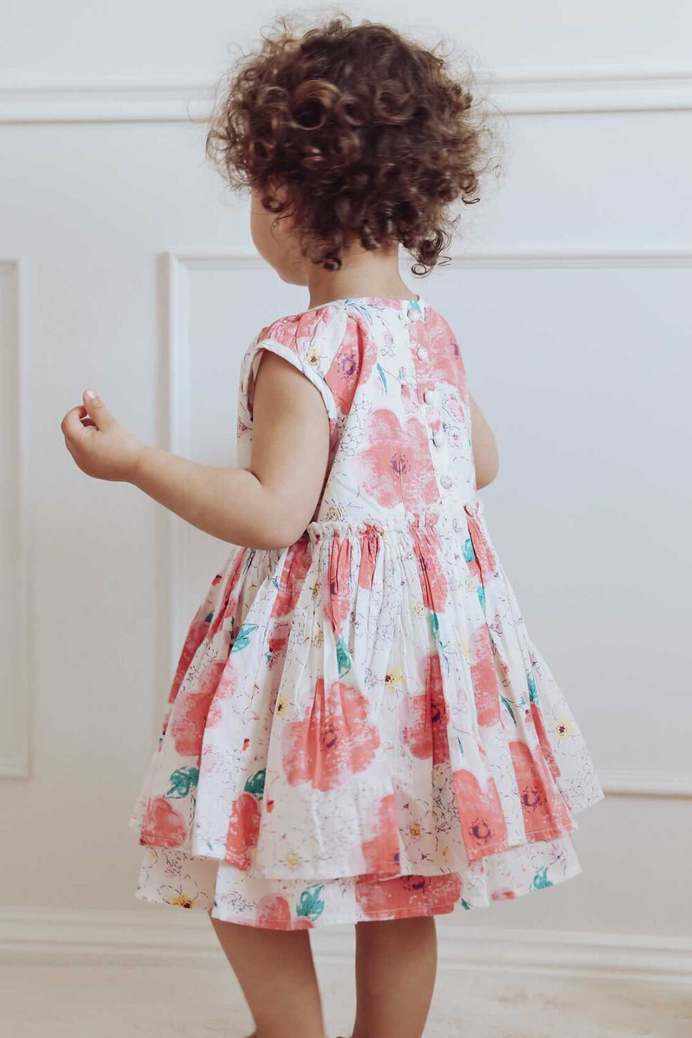 BABY GIRL BRIGHT FLORAL MINI DRESS in colour PURPLE ORCHID