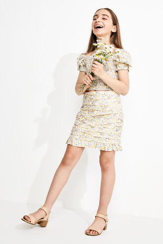 FLORAL ROUCHED SKIRT in colour PASTEL YELLOW