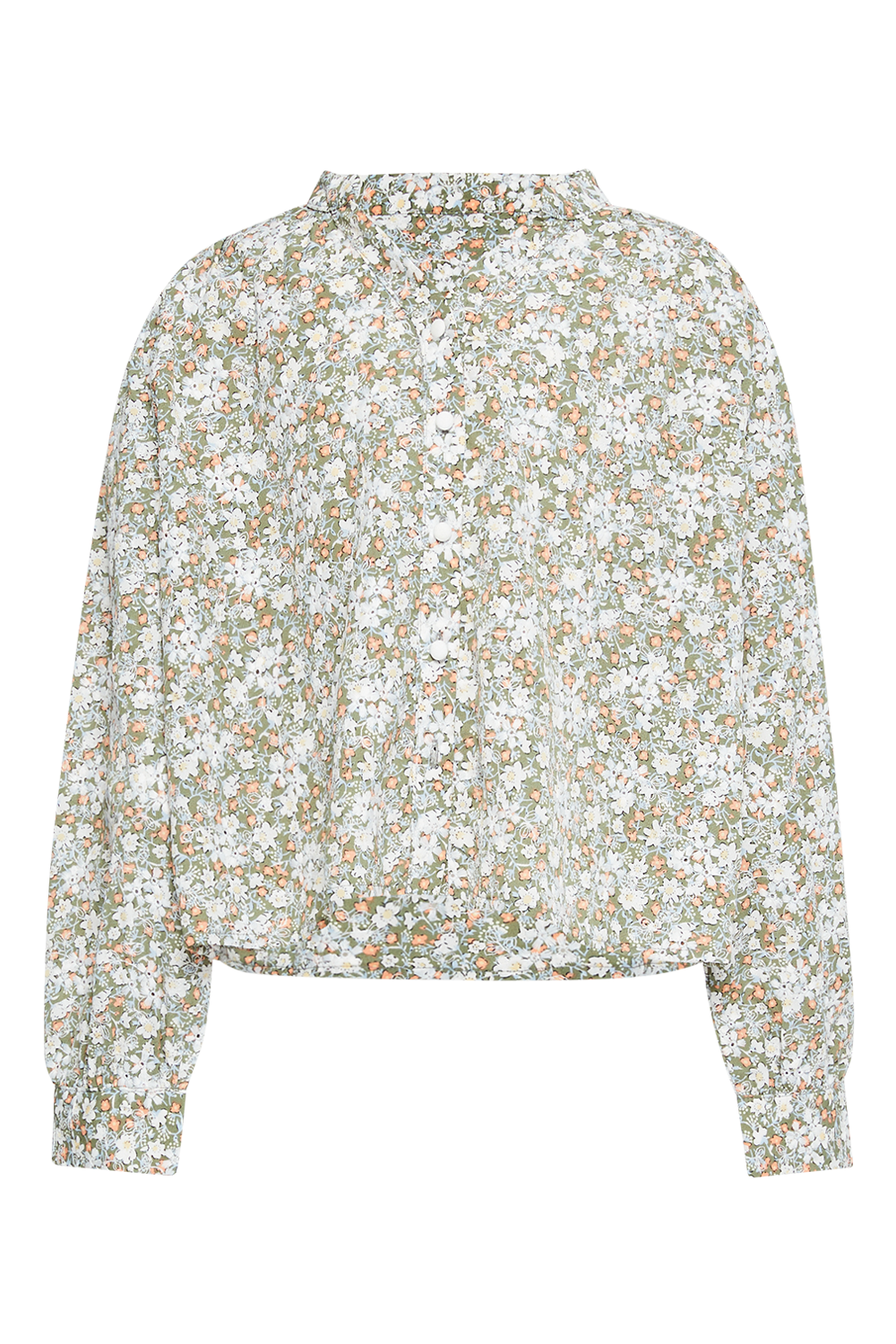 GIRLS SERENITY FLORAL SHIRT in colour BURNT OLIVE