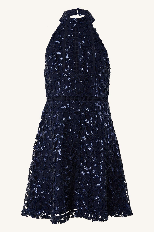 GIRLS GEMMA SEQUIN DRESS in colour BLACK IRIS