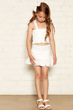 JUNIOR GIRL LOLITA SHIRRED SKIRT in colour CLOUD DANCER