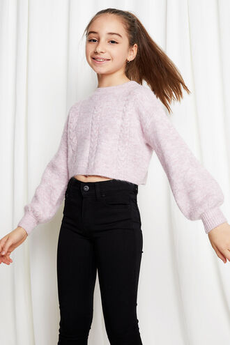 CHLOE COSY CROP KNIT in colour CAMEO BROWN
