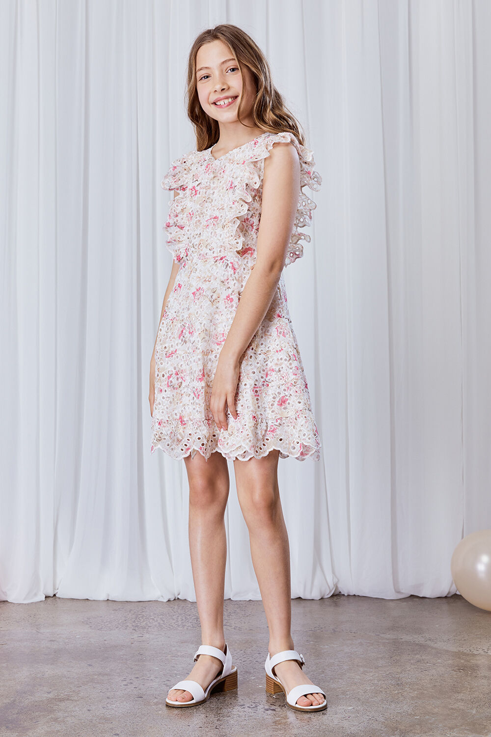 GIRLS AMELIA FLORAL DRESS in colour SACHET PINK