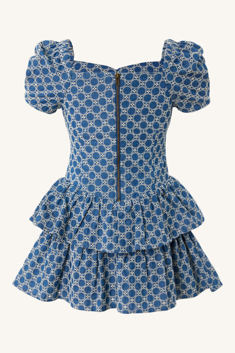 BABY GIRL BRODERIE CORSET DRESS in colour CHAMBRAY BLUE